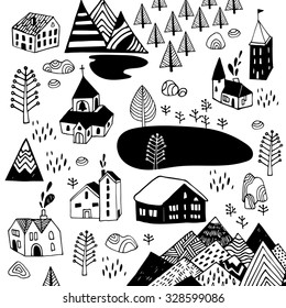 Scandinavian style. Vector illustration with Norwegian village in black and white colors