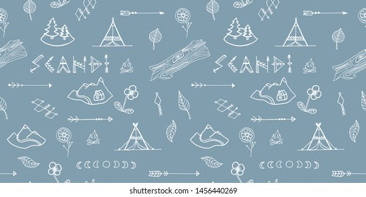 Scandinavian style vector seamless pattern with tents, campfire, arrows, mountains, flowers and leaves. Doodle style, hand drawing. For factories, textiles, industries, textures, wallpapers, design.