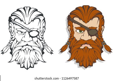 Scandinavian supreme god of Norse mythology - Odin. Hand drawing of Odin Head. Cartoon bearded man character. God Odin, Wotan, tattoo. Traditional norse ornament. Vector graphics to design