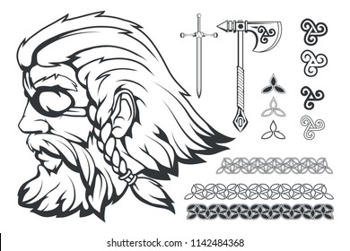 Scandinavian supreme god of Norse mythology - Odin. Hand drawing of Odin Head. Cartoon bearded man character. God Odin, Wotan tattoo. Traditional norse ornament. Vector graphics to design