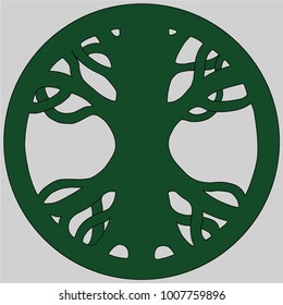 Scandinavian symbol of Norse Mythology. Symbol of belief of vikings. Old Norse symbol of mythical holy ash tree uniting the realms. Vector illustration.