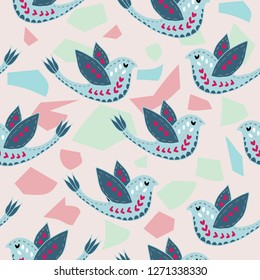 Scandinavian Terrazzo Birdie Pattern Design. Perfect for fabric, wallpaper, stationery and scrapbooking projects and other crafts and digital work