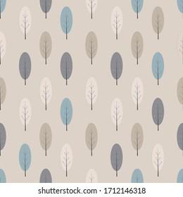 Scandinavian tree background monochrome pattern