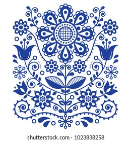 Scandinavian vector folk art pattern, floral retro ornament design, Nordic style ethnic decoration.  Traditional embroidery with flowers in navy blue, tulips and leaves decoration, vintage inspired