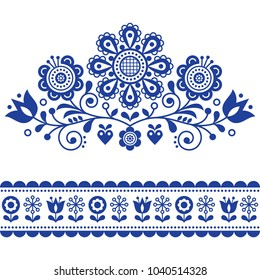 Scandinavian vector folk art pattern with flowers, traditional floral frame or border design. Traditional cute ornament - Scandi style, old-fashioned look, Swedish and Norwegian embroidery style