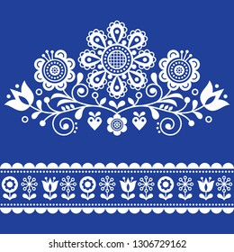 Scandinavian vector folk art pattern with flowers, traditional floral frame or border white design on navy blue.  Traditional cute ornament - Scandi style, old-fashioned look