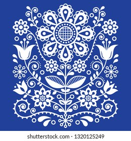 Scandinavian vector folk art pattern, floral retro ornament design, Nordic style ethnic decoration.   Traditional embroidery with flowers in white on navy blue background, retro style