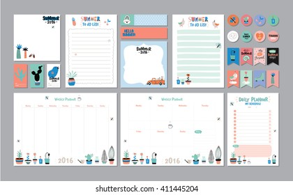 Scandinavian Weekly and Daily Planner Template. Organizer and Schedule with Notes and To Do List. Vector. Isolated. Trendy Holiday Summer Concept with Graphic Design Elements