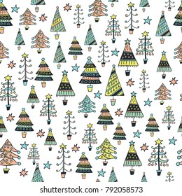 Scandinavic seamless patter. Christmas trees. Cartoon image for wallpapers, postcards, your design and business