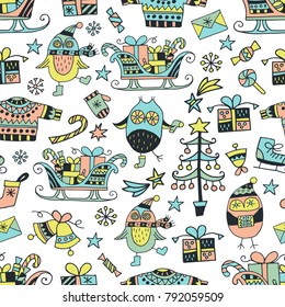 Scandinavic seamless pattern. Cute owls in winter celebration atmosphere. Christmas and presents. Cartoon image for wallpapers, postcards, your design and business