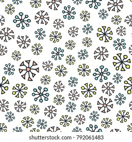 Scandinavic seamless pattern. Falling snowflakes. Cartoon image for wallpapers, postcards, your design and business