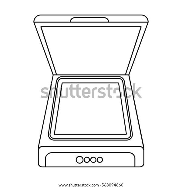 Scanner icon in outline style isolated on white background. Typography symbol stock vector illustration.