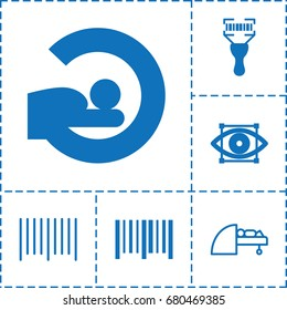 Scanner icon. set of 6 scanner filled and outline icons such as mri, bar code, bar code scanner