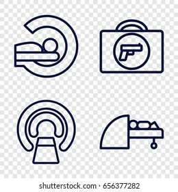 Scanner icons set. set of 4 scanner outline icons such as briefcase with weapon
