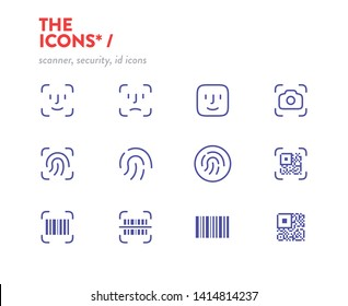 Scanners icon set, vector. Pixel Perfect glyphs. Editable Stroke. Security, id scanners icons, symbols