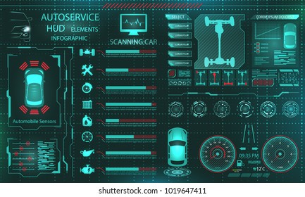 Scanning Car, Analysis and Diagnostics Vehicle, HUD UI Elements, Selection of Car Parts - Illustration Vector