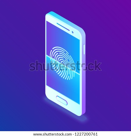 Scanning Fingerprint On Smartphone Unlock Mobile Stock Vector
