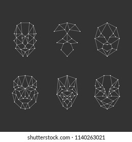 Scanning grid for face recognition. Set face recognition. Vector illustration.