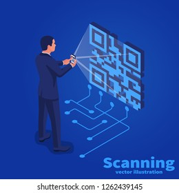 Scanning QR code on mobile phone. Vector illustration isometric design. Isolated on background. Modern digital technology. Scanning quick code.