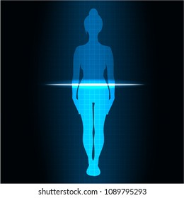 scanning of a woman's body