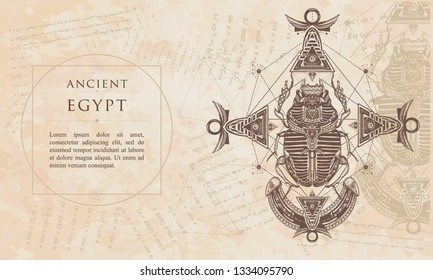 Scarab, ancient Egypt, mythology. Symbol of pharaoh, gods Ra. Renaissance background. Medieval manuscript, engraving art