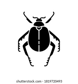 Scarab beetle black glyph icon. Small arthropod, egyptian bug, desert inhabitant. Zoology, entomology, ancient Egypt culture silhouette symbol on white space. Dung beetle vector isolated illustration