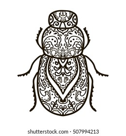 Scarab beetle. Hand drawn doodle insect. Ethnic patterned vector illustration. African, indian, totem, tribal, zentangle design. Sketch for adult coloring page, tattoo, posters, print or t-shirt.