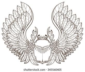 Scarab beetle, sketch, symbol of pharaoh, tattoo