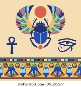 Scarab. Egyptian icons. Vector illustration