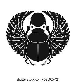 Scarab icon in black style isolated on white background. Ancient Egypt symbol stock vector illustration.