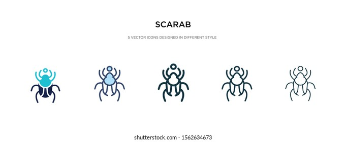 scarab icon in different style vector illustration. two colored and black scarab vector icons designed in filled, outline, line and stroke style can be used for web, mobile, ui