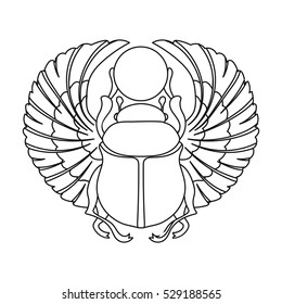 Scarab icon in outline style isolated on white background. Ancient Egypt symbol stock vector illustration.