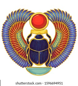 Scarab..Egyptian hieroglyph and symbolAncient culture sing and symbol.Religion icon.Design element.