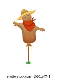 Scarecrow. Cartoon Stuffed Man in a Red Armband and Straw Hat