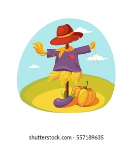 Scarecrow In Clothes Standing On A Field With Pumpkin Under , Farm And Farming Related Illustration In Bright Cartoon Style