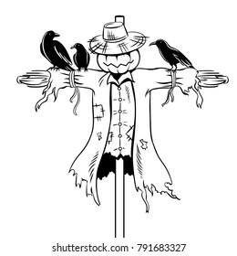 Scarecrow coloring vector illustration. Isolated image on white background. Comic book style imitation.