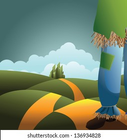Scarecrow on the road. EPS 10 vector, grouped for easy editing. No open shapes or paths.