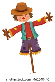Scarecrow on wooden stick illustration