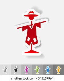 scarecrow paper sticker with shadow. Vector illustration