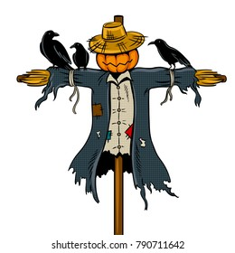 Scarecrow pop art retro vector illustration. Isolated image on white background. Comic book style imitation.