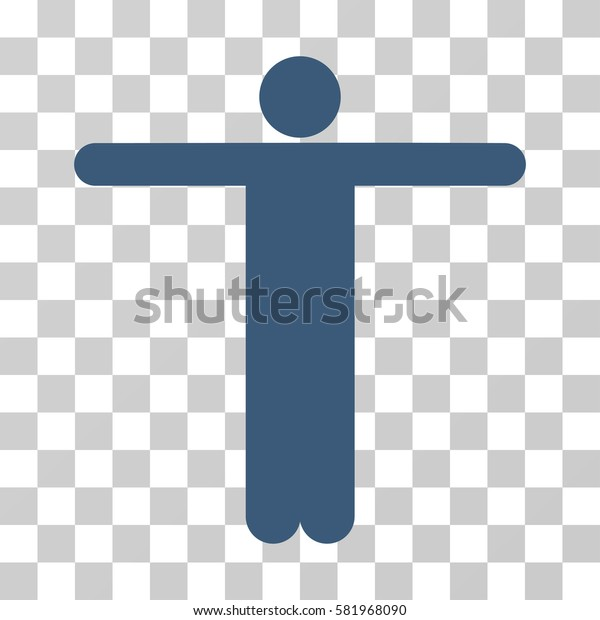 Scarecrow Pose vector pictograph. Illustration style is a flat iconic blue symbol on a transparent background.