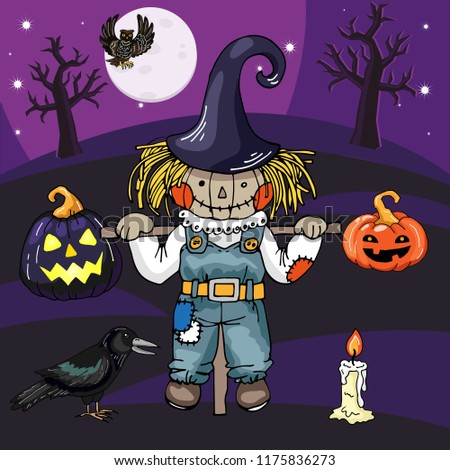 Scarecrow Scary Night Scenehalloween Theme Vector Hand