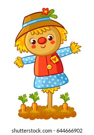 The scarecrow is standing in a garden with a carrot and smiling. Vector illustration in a cartoon childlike style. Happy Scarecrow.