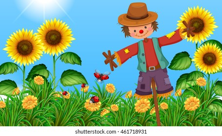 Scarecrow in the sunflower field illustration