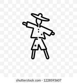 Scarecrow vector linear icon isolated on transparent background, Scarecrow transparency concept can be used for web and mobile