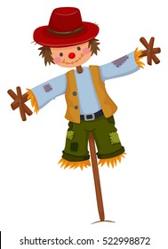 Scarecrow wearing red hat and vest illustration