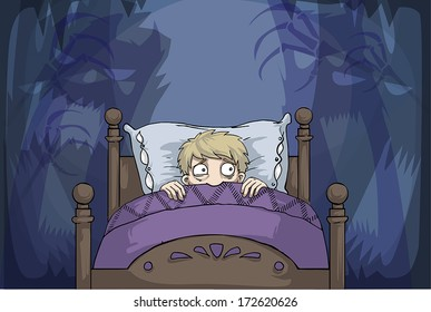 scared boy in bed having nightmares, vector illustration