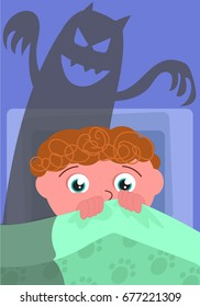 Scared boy in his bed with evil shadow, cartoon vector illustration
