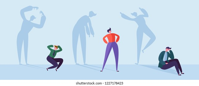 Scared Business People with Stressed Shadows. Male Characters with Silhouettes of Stressful Man. Depression, Stress, Frustration Concept. Vector illustration