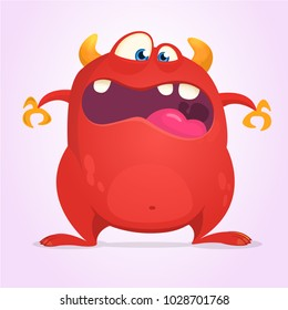 Scared cartoon horned monster. Halloween vector illustration of red monster character. Design for print, sticker or party decoration